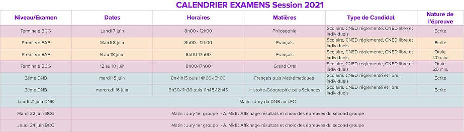 Calendrier Examens 2021 - Calendrier Exa