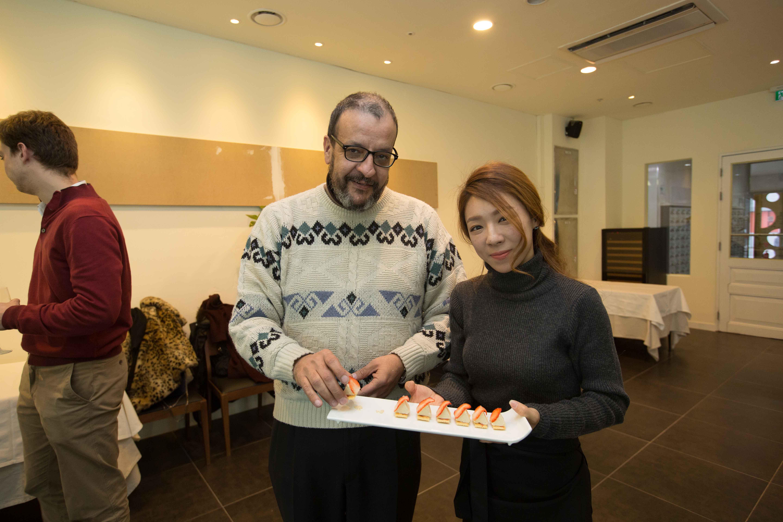 Guests eating Royal de Foie