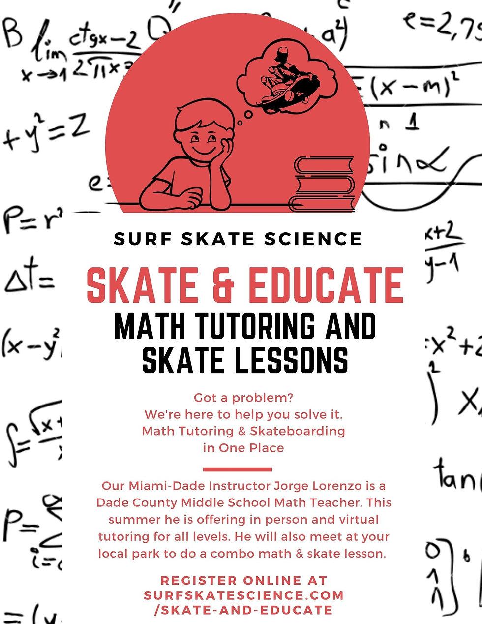 SKATE & EDUCATE Math Tutoring AND SKATE