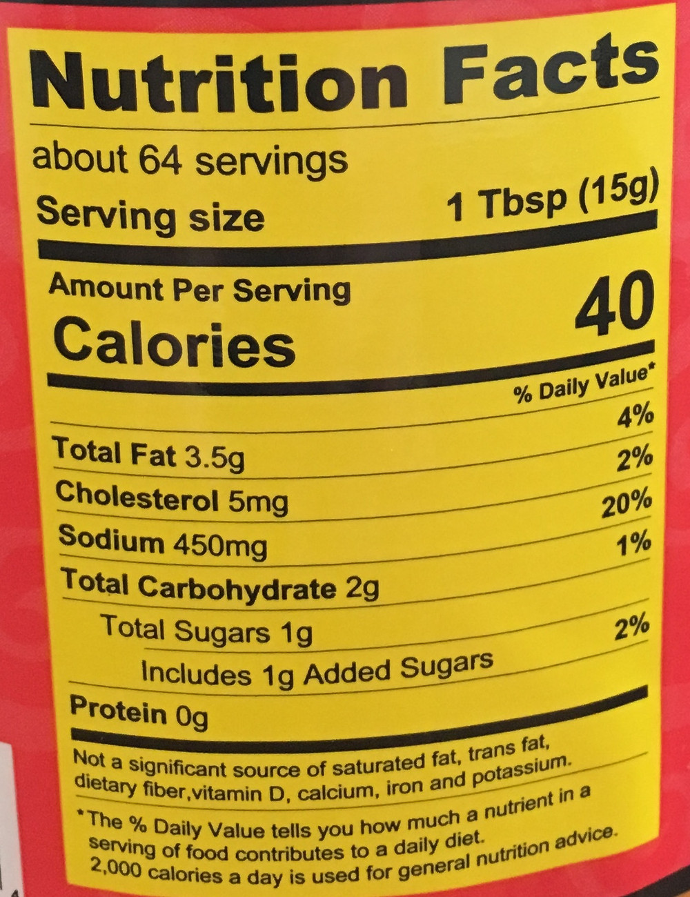 "Example of the new nutrition facts label showing ""added sugars"""