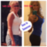 Emily Frisella, Food in Session host, before and after photo with clean eating