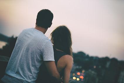Man and woman looking at horizon