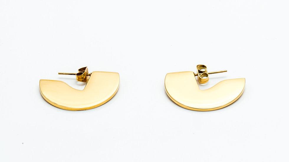 Crescent Disk Ear Studs