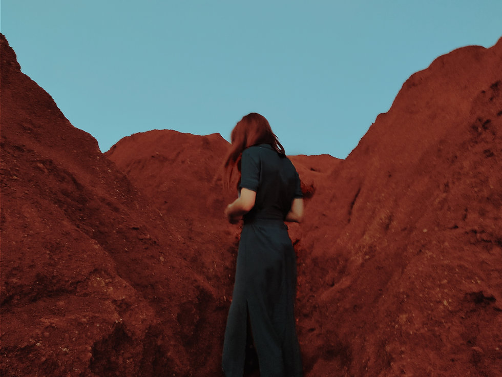 Women in black dress and red hair on red mountains