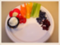 Kidfunideas.com Rainbow snack plates.  Healthy and delicious a fun rainbow activity for kids