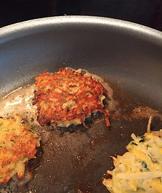 Kidfunideas.com Zucchini cheddar hash brown cakes picture of the hash browns cooking