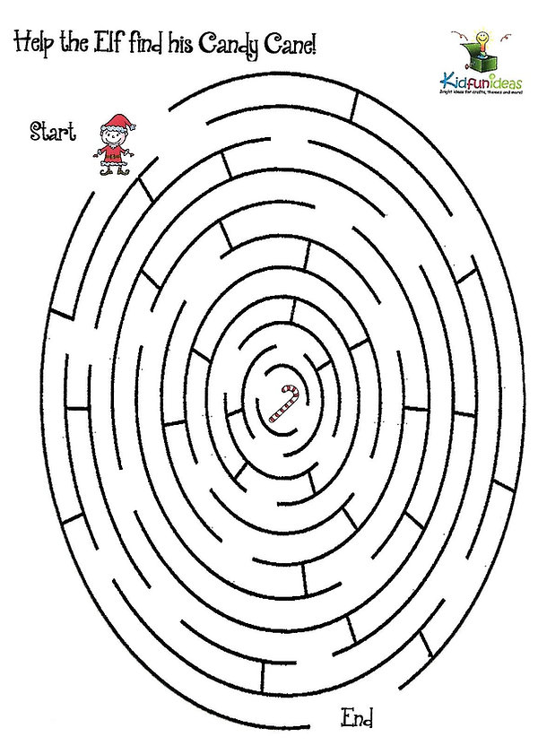 Kidfunideas.com Christmas maze activity for kids