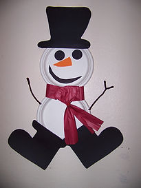 Kidfunideas.com paper plate snowman craft picture of finished craft