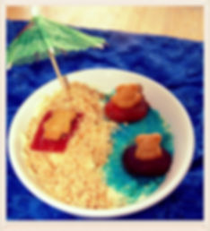 Kidfunideas.com Teddy bears on the beach dessert for kids.  Perfect for a kids sleepover or pool party.  We made this fun dessert with coconut milk