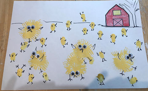 Chicks loose in the barnyard Spring themed craft for kids