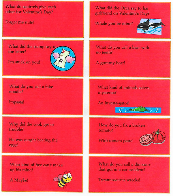 Kidfunideas.com February joke sheet #2 with 10 jokes to print out on this sheet