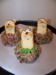 Kidfunideas.com groundhog's day treats version 2 made with crispy rice cereal