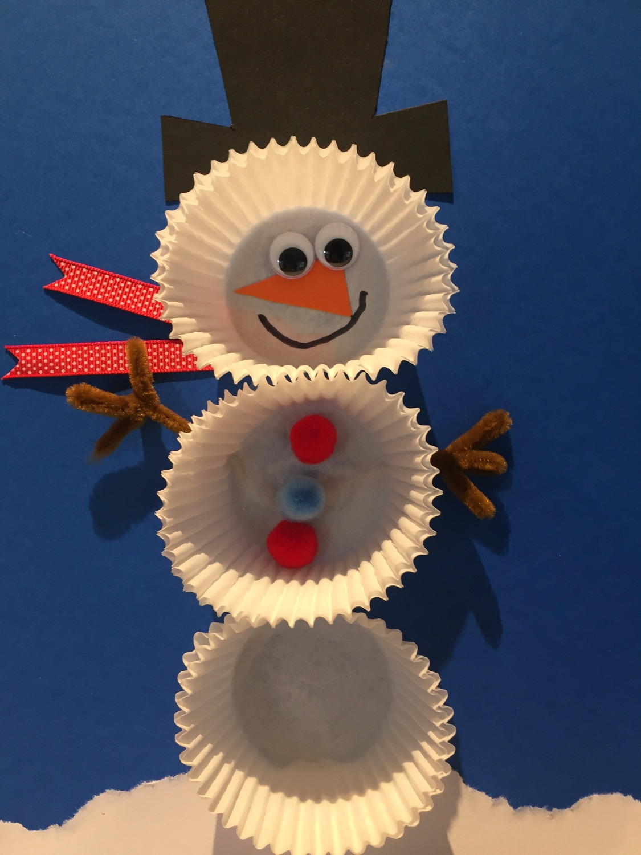 cupcake paper snowmen craft