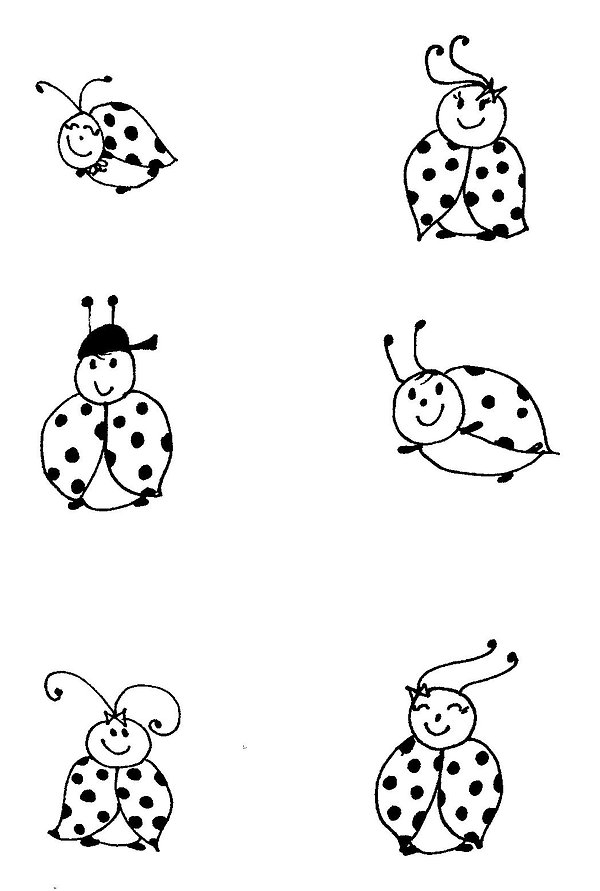Kidfunideas.com ladybug picnic craft/ladybug pattern sheet black and white version