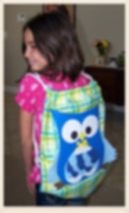 Kidfunideas.com Owl drawstring backpack easy sewing project for kids