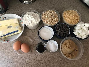 Ingredients for Chewy Nom Nom cookies.  A yummy mashup of s'mores, rice crispy treats and chewy oatmeal cookies!