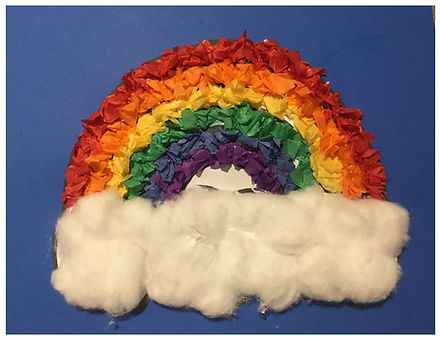 Kidfunideas.com Tissue paper rainbow craft. Great for fine motor skills
