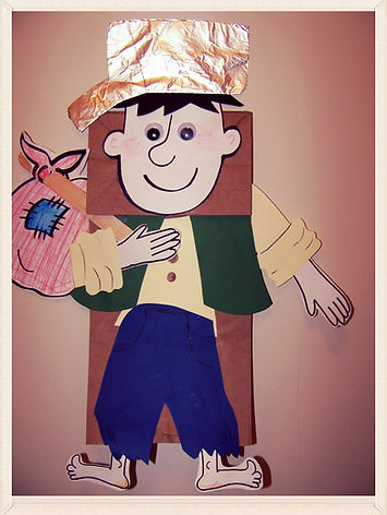 Kidfunideas.com Johnny Appleseed paperbag puppet craft for kids.  Apple project, Johnny Appleseed craft