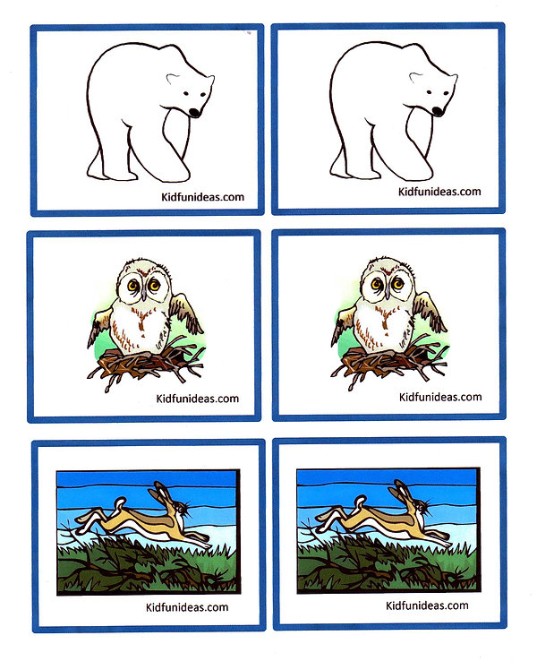 Kidfunideas.com Arctic animal match game printout card