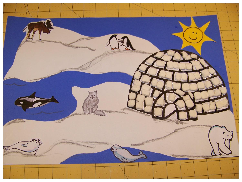Marshmallow igloo Arctic scene craft
