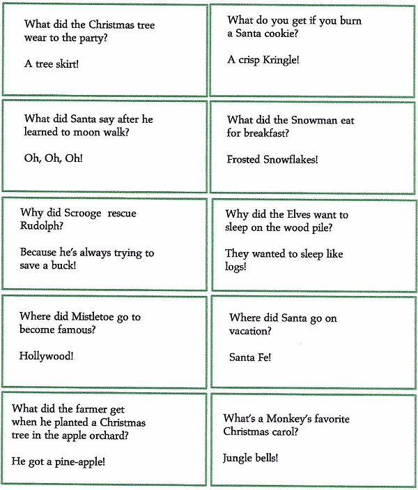 Kidfunideas. com Winter and Christmas jokes for kids - 10 jokes to print out on this picture