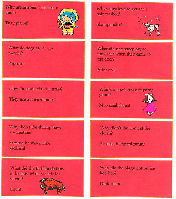 Kidfunideas.com February joke sheet with 10 jokes to print out on this sheet