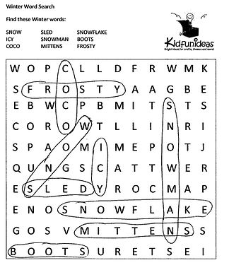 Kidfunideas.com holiday wordsearch answer key picture