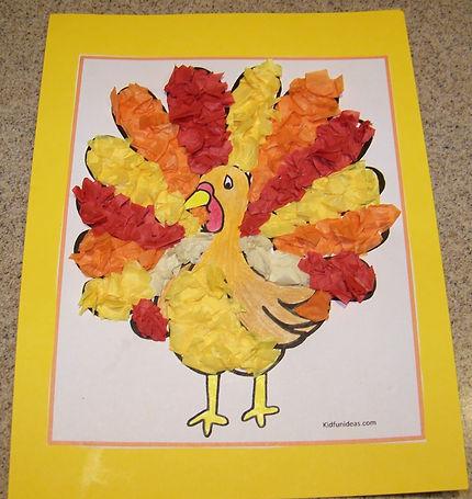 Kidfunideas.com tissue paper turkey art project