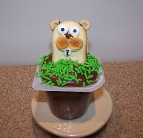Kidfunideas.com Groundhog's day pudding cup picture