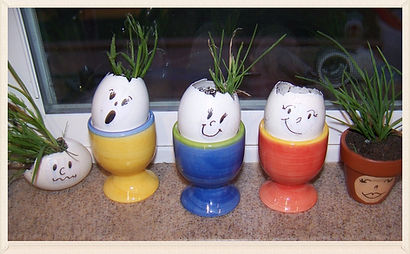 Kidfunideas.com Grass buddies craft for kids.  This fun garden activity for kids looks cute on any windowsill