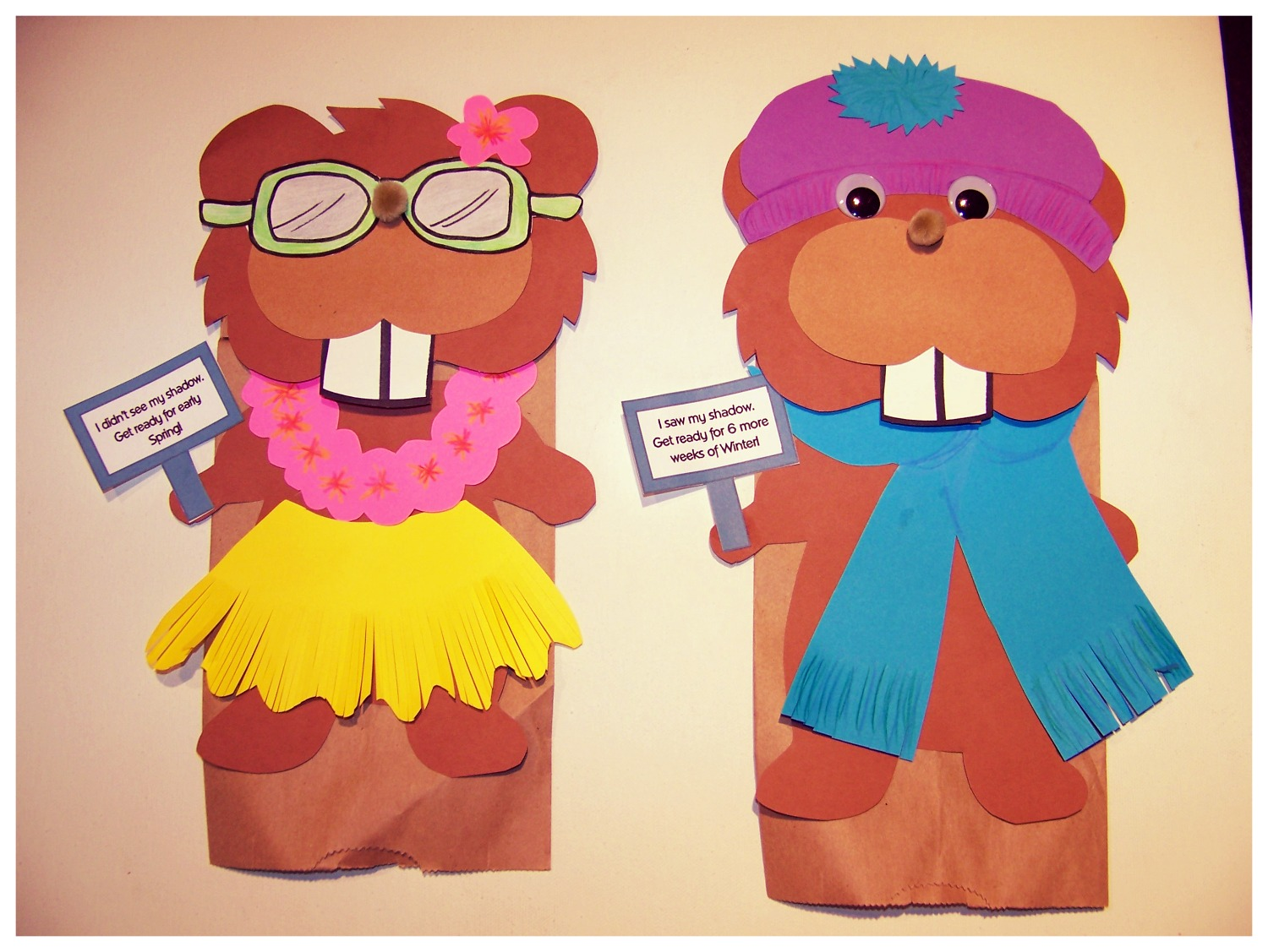 Groundhog's day paper bag puppets