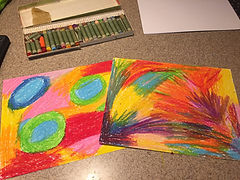 Kidfunideas.com New Year's fireworks craft picture of step one to make scratch art sheet