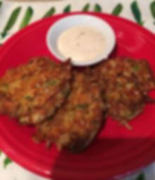 Kidfunideas.com Zucchini cheddar hash brown cakes picture of finished recipe