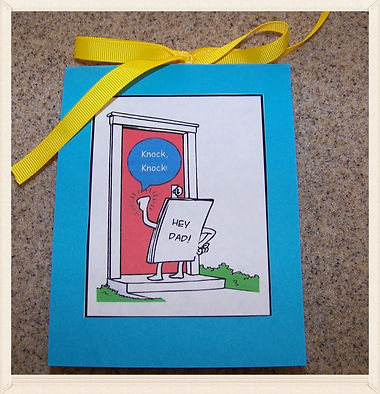 Kidfunideas.com Father's Day card for kids to make.  What a fun Father's Day card for Dad.  Kids love to make this cute knock, knock joke card for Dad