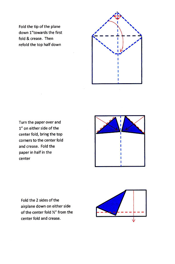 Kidfunideas.com Valentine's paper airplane folding instructions page 2