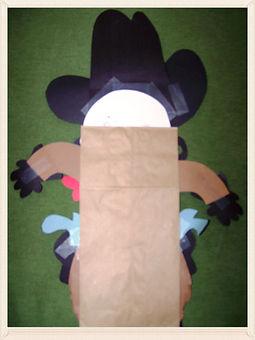Kidfunideas.com rustler western paper bag puppet craft