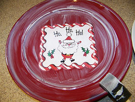 Kidfunideas.com Santa cookie plate picture directions. Applying the picture to the plate