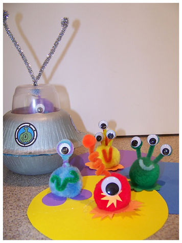 Kidfunideas.com Paper bowl flyer saucer and Aliens craft