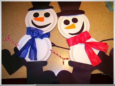 Kidfunideas.com paper plate snowman craft