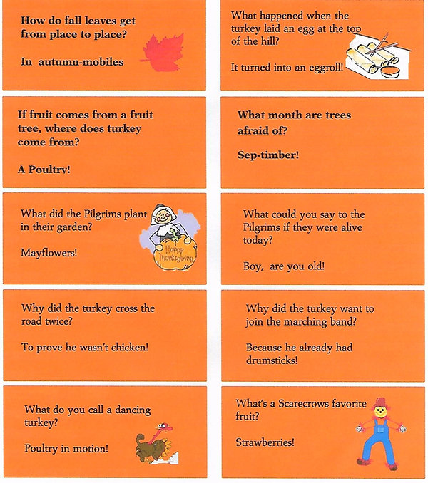 Kidfunideas.com Autumn jokes for kids joke sheet with 10 jokes to print