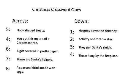 Kidfunideas.com Christmas cross word clues picture
