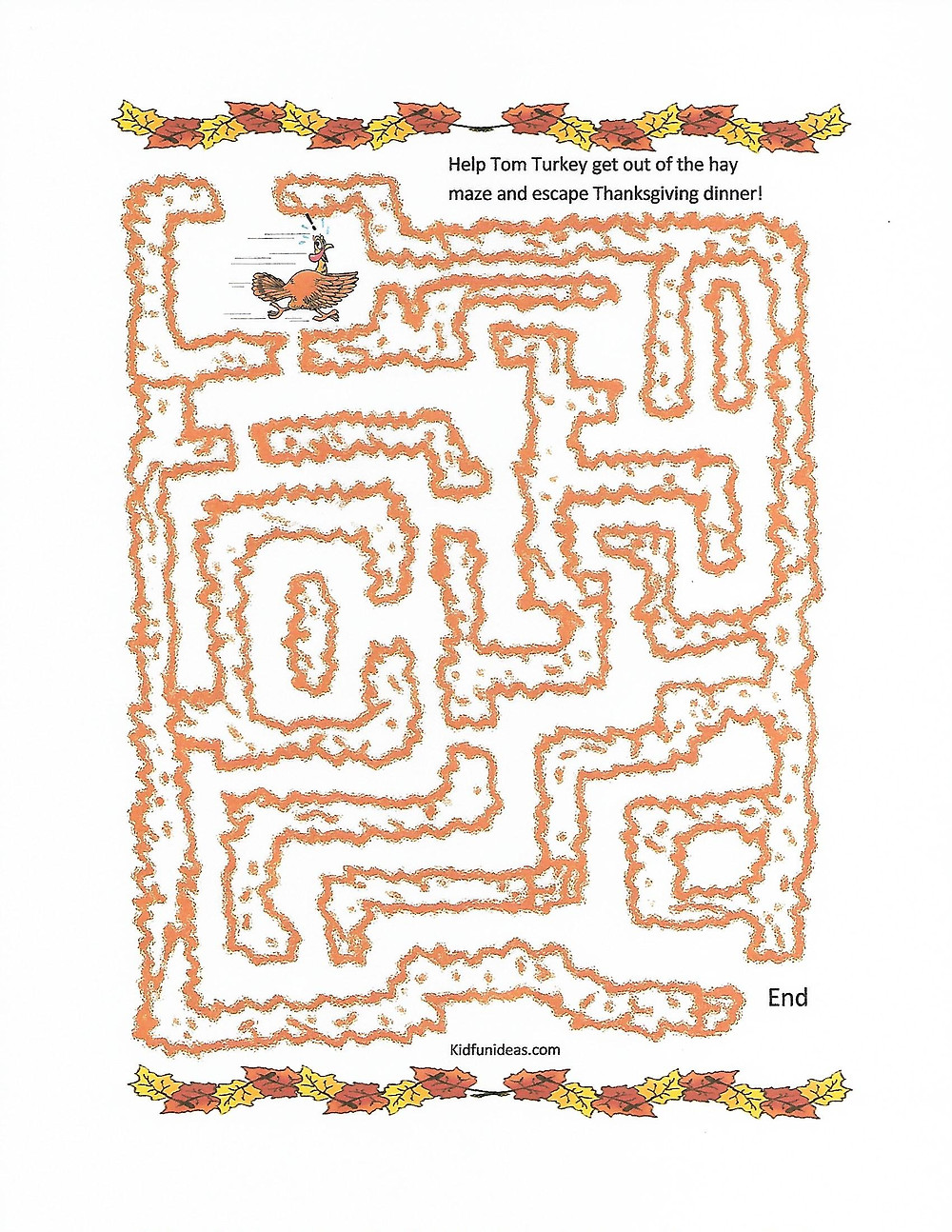 Thanksgiving turkey maze activity for kids