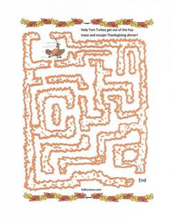 Thanksgiving turkey maze activity
