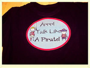 Kidfunideas.com Talk Like a Pirate Day T-shirt or Flag craft for kids to make. September crafts/ Pirate craft for kids