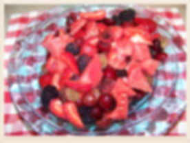 Kidfunideas.com Red Fruit Salad.  What a pretty and easy summer salad. Sweet and juicy kids love this summer salad