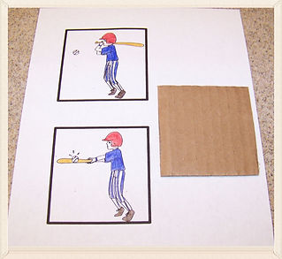 Kidfunideas.com Magic swinging baseball craft for kids.  Fun baseball craft for kids looks like the batter is really swing the bat. A fun optical illusion for kids.