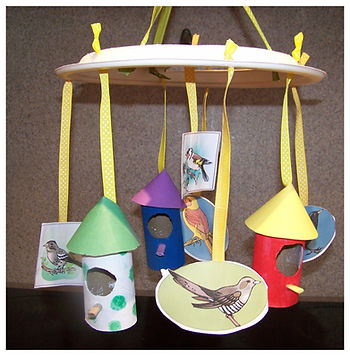 Kidfunideas.com bird house mobile craft project - a fun Spring craft for kids
