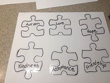 Kidfunideas.com Autism awareness bracelet craft picture of writing words on the puzzle pieces