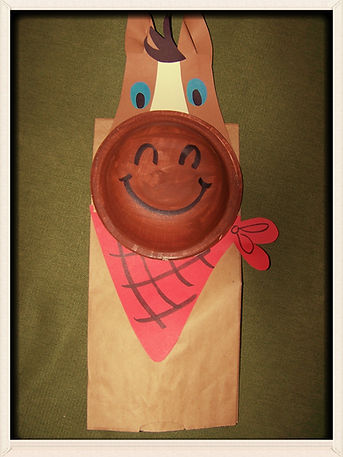 Kidfunideas.com Horse paper bag puppet.  A quick and easy horse or western craft for kids.