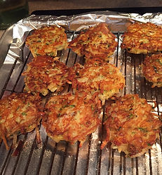 Kidfunideas.com zucchini cheddar hash brown cakes picture of the hash brown on the baking rack